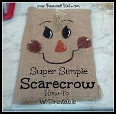 Super Simple Scarecrow How-To w/Printable Fall Crafts, Holiday Crafts, Christmas Diy, Handmade Decorations, Halloween Decorations, Projects For Kids, Crafts For Kids, Pumpkin Decorating, Fall Decorating