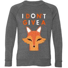 I Don't Give A Fox Unisex Alternative Apparel Eco-Fleece Champ Crewneck Sweatshirt #fox #sweater