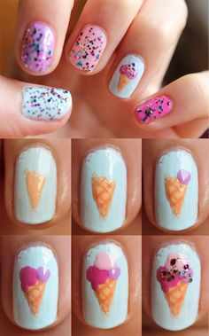 Eis Nail Art von Totally Elsa - 1006 art tips Girls Nail Designs, Best Nail Art Designs, Simple Nail Designs, Nail Art At Home, Nail Art For Kids, Cute Nails, Pretty Nails, Little Girl Nails, Food Nail Art