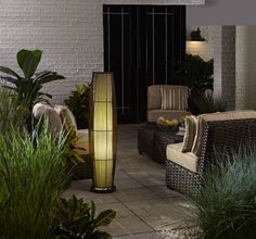 Add a little ambiance to your patio with an allen + roth bamboo floor lamp. #lighting