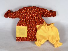 Red Doll Dress & Yellow Bloomers - Toy Doll Clothes For Kids - Handmade For 9 Inch Dolls Other Outfits, Kids Outfits, Red Dolls, Big Yellow, African American Dolls, Dress Up Dolls, Asian Doll, Cat Doll, Handmade Dolls