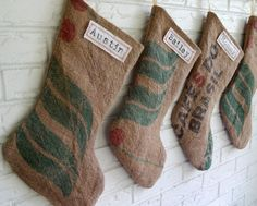 Burlap Christmas Stockings Personalized Green and Red - Rustic Christmas Stockings Burlap Coffee Sack These Christmas stockings are repurposed Christmas Mood, Rustic Christmas, Christmas Themes, Handmade Christmas, Holiday Decorations, Merry Christmas, Burlap Christmas Stockings, Burlap Stockings, Burlap Coffee Bags