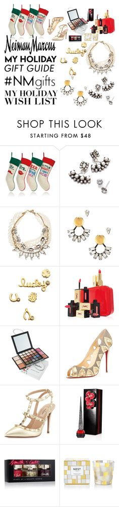 """The Holiday Wish List With Neiman Marcus: Contest Entry"" by masnoo-badri ❤ liked on Polyvore featuring Neiman Marcus, Jonathan Adler, DANNIJO, Lulu Frost, Sydney Evan, Yves Saint Laurent, Christian Louboutin, Valentino, Smith & Cult and Nest Fragrances"