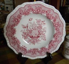Red Transferware Soup Plate