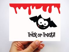 6 Halloween Cards, Bat Halloween Cards Trick or Treat Halloween Cards A305. $10.50, via Etsy....    How cute is this bat?!?!?