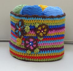 Make this cute colorful basket with Lion's Pride Woolspun!