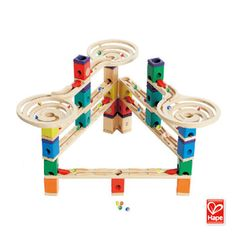 Vertigo by Hape Toys. Vertigo is a dizzying, daring, lightning-fast Quadrilla marble run that includes three twisting funnels for a whirlwind ride. Quadrilla Marble Run Vertigo, Wooden Marble Run, Marble Runs, Hape Toys, Coding For Kids, Baby Boutique, Business For Kids, Quality Time, Educational Toys