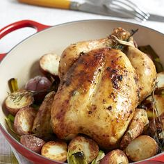 """Can't wait to try this recipe """"Roast Chicken with Potatoes and Leeks"""" by Giada De Laurentiis from Giada's digital weekly! Oven Roasted Whole Chicken, Roasted Chicken And Potatoes, Roast Chicken, Chicken Adobo, Dijon Chicken, Stuffed Chicken, Pork Roast, Rotisserie Chicken, Fried Chicken"""