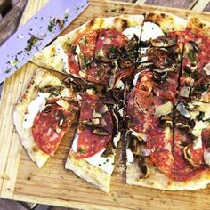 Grilled Pizza With Grilled Shiitake, Sopressata, and Parmesan