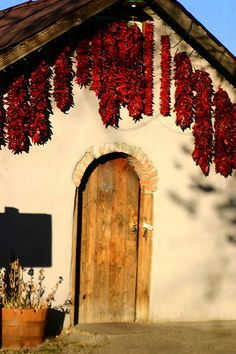 Dried chile peppers/Ristras is a symbol for hospitality in the southwest. Door is in Espanola, New Mexico. New Mexico Style, New Mexico Homes, New Mexico Usa, Portal, New Mexican, Mexican Tiles, Santa Fe Style, Land Of Enchantment, Southwest Style