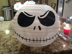 Jack Skellington From Nightmare Before christmas Inspired Lantern. Imprimibles Halloween, Adornos Halloween, Fete Halloween, Halloween Birthday, Halloween Christmas, Baby Halloween, Christmas Themes, Christmas Birthday, Xmas
