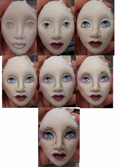 I had some questions about the clay portion. First, I use PaperClay and usually let it airdry but because it was too damp yesterday, I ba. Art Doll Tutorial, Doll Face Paint, Doll Patterns Free, Paperclay, Sewing Dolls, Soft Dolls, Doll Crafts, Soft Sculpture, Fabric Dolls