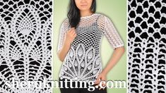 In the elegant lace motif of this crocheted Pineapple Stitch top, it's easy to stay unique and sexy everywhere you go. Crochet Blouse, Crochet Top, Crocheted Lace, Crochet Woman, Knitting Stitches, Crochet Clothes, Tunics, Stitch Patterns, Applique