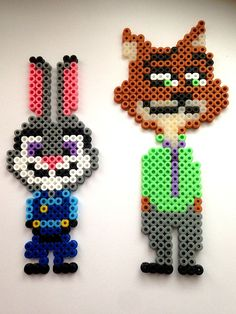 Hama - Perler Beads - Judy Hops & Nick Wilde - Zoomania - Zootopia