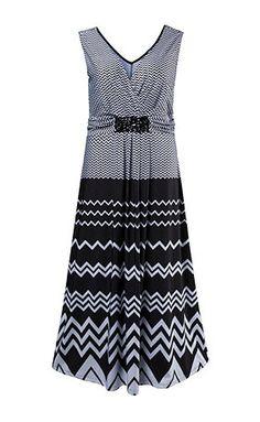 Kleid mit Zackenmuster. Ziersteine unter dem V-Ausschnitt, ausgestellter Rock…