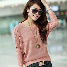 Women's Loose Pullover Knitwear Batwing Sleeve Sweater – MXN $ 338.03