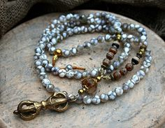 Beautiful faceted agate mala necklace decorated by look4treasures