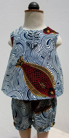 Ankara Fish Print a Bloomer and Baby Top by oonaloo African Inspired Fashion, African Print Fashion, Africa Fashion, African Prints, African Babies, African Children, African Women, African Attire, African Wear