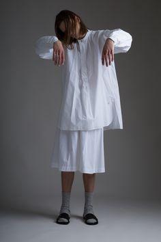 Hed Mayner Men's Pleated Shorts. Vintage Venus et Jules tunic shirt. Designer Clothing Dark Minimal Street Style Fashion