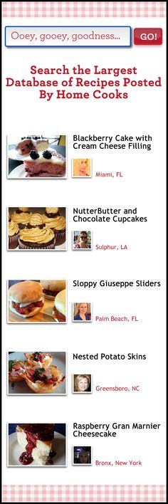 Search the largest database of recipes posted by home cooks
