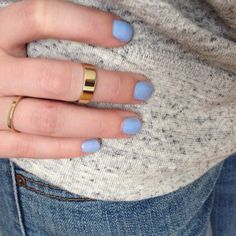 This midi ring and cornflower blue nail polish is perfection