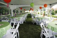 tent and paper lanterns