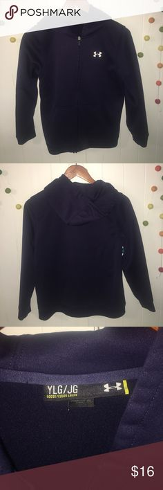Under Armour : Navy Zip-Up Hoodie EUC navy blue boys UA zip up hoodie with white logo. Super warm and comfy! Loose fit. Under Armour Shirts & Tops Sweatshirts & Hoodies