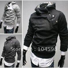 4b2e95959e Fashion Casual High Collar Mens Special Button Hoodie Jacket 4color Capucha  Negra