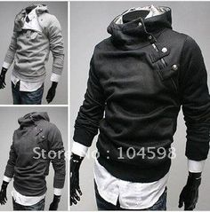 Fashion Casual High Collar Mens Special Button Hoodie Jacket 4color
