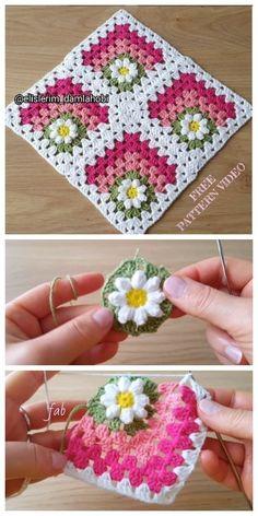 Crochet Motif Patterns, Granny Square Crochet Pattern, Crochet Squares, Crochet Designs, Knitting Patterns, Flower Granny Square, Baby Afghan Patterns, Crochet Granny, Granny Squares