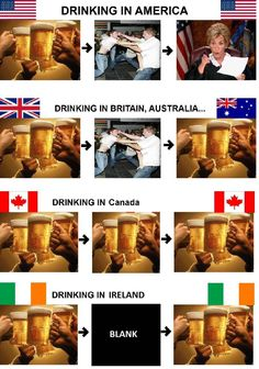 What Drinking Looks Like in America, Australia, Canada, and Ireland