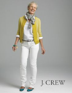 The mustard over all-white is gorgeous...and a pop of blue in the flats and bracelet is perfect!