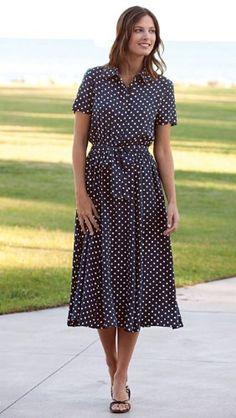 Navy Polka-dot Dress / Regular
