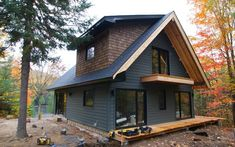 Colin - Justin-s Cabin Pressure Tiny House Cabin, Cabin Homes, Log Homes, Cottage Exterior, Cabin Exterior Colors, A Frame House, Cabins And Cottages, House Painting, Exterior Design