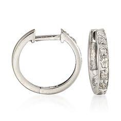 diamond+cartlidge+hoop | Ross-Simons - Diamond Huggie Hoop Earrings in 14kt White Gold ...
