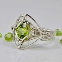 Peridot Ring of the Elements Peridot Argentium Sterling Silver Wire Wrap Ring