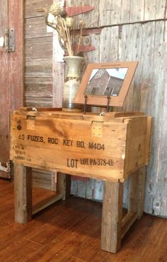 Ammo box storage table. The Rustic Recyclery $75