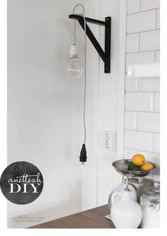 DIY Ikea Hack: wall lamp from ikea shelf holders Lp Regal, Diy Luz, Diy Luminaire, Ikea Lamp, Cool Bunk Beds, Creation Deco, Ideias Diy, Love Your Home, Interior Inspiration