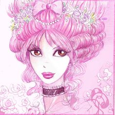 fashion anime style by Pilar Lady in pink