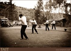 Photo op at a golf course wedding of the groom & his men. I would want a ladies one too though....