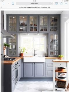 Do you want to have an IKEA kitchen design for your home? Every kitchen should have a cupboard for food storage or cooking utensils. So also with IKEA kitchen design. Here are 70 IKEA Kitchen Design Ideas in our opinion. Hopefully inspired and enjoy! Butcher Block Countertops Kitchen, Farmhouse Kitchen Cabinets, Kitchen Cabinet Design, Farmhouse Sinks, Grey Countertops, Cabinet Space, Kitchen Cabinetry, Giani Granite, Glass Kitchen Cabinet Doors