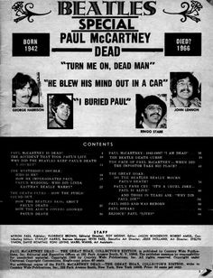 """""""Table of Contents from the1969 Paul is Dead magazine. Previously the contents of this magazine were unknown to many Paul is Dead believers who didn't have access to the discontinued copy. Check back often to see the pages to come."""" http://thefaulofpaulmccartney.tumblr.com/post/24161004761/table-of-contents-from-this-1969-paul-is-dead#"""