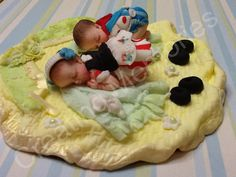 Twin J and J  Babies Boys & Girl Cake Topper by anafeke on Etsy, $30.00
