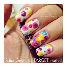 Prabal Gurung for TARGET Inspired Flowers Nail Art (click through for tutorial)