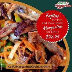 Today's forecast: chance of Fajitas and Margaritas. Check out our Monday special. Orchard Restaurant, Monday Specials, Fajitas, Menu, Chicken, Food, Margaritas, Menu Board Design, Essen
