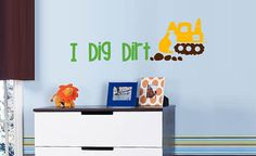Construction wall decal I Dig Dirt wall by ToodlesDecalStudio