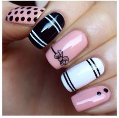#manicure with black,white and pink