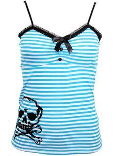 "Women's ""JL Skull"" Tank Top by Jessica Louise (Blue/White) #InkedShop #skull #stripes #tank #top #style #fashion"
