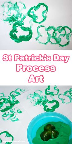 This is a wonderful little process art project for kids - bell peppers make a great St Patrick's day paint stamp activity! #stpatricksday #easystpatricksdayactivities #kidsactivities #stpatricksdayart #stpatricksdayideasforkids #fourleafclover #processartideas