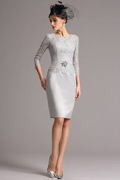 Modest Grey Mother of the Bride Dress with Sleeves Mother Of The Bride, Custom Made, Dresses With Sleeves, Formal Dresses, Grey, Style, Fashion, Weddings, Mother Bride